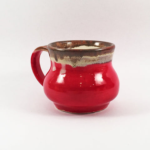 Vibrant Glossy Red Mug with Molten Glaze Rim. Buy Individual or Set!