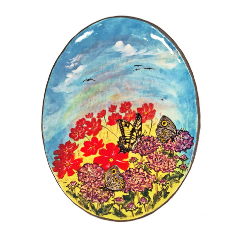 Stunning/Vibrant Hand-Painted Plate with Butterfly, Flowers, & Clouds!