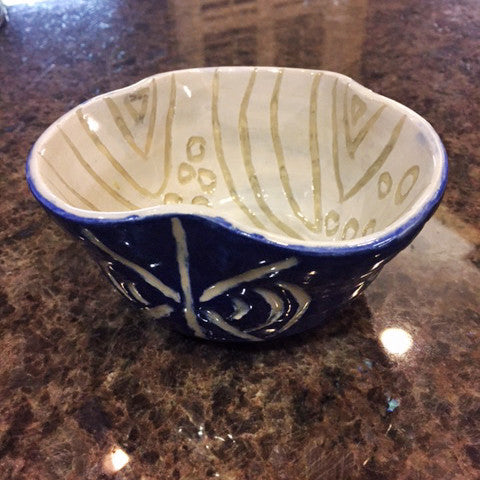 Handmade Ceramic Clover Bowl in Electric Blue for snacks/jewelry/decoration