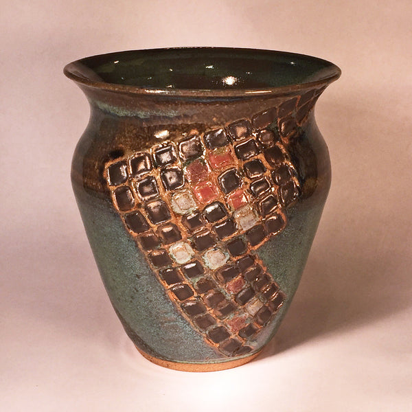 Elegant, Artisan Cobble Stone Rutile Vase with Hand-painted Detail