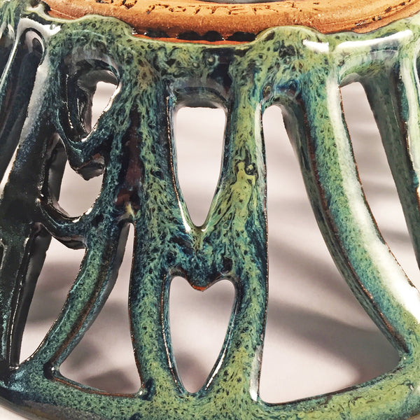 "Stunning Hand Carved Ceramic Bowl ""Deep Sea"" is intricately carved."