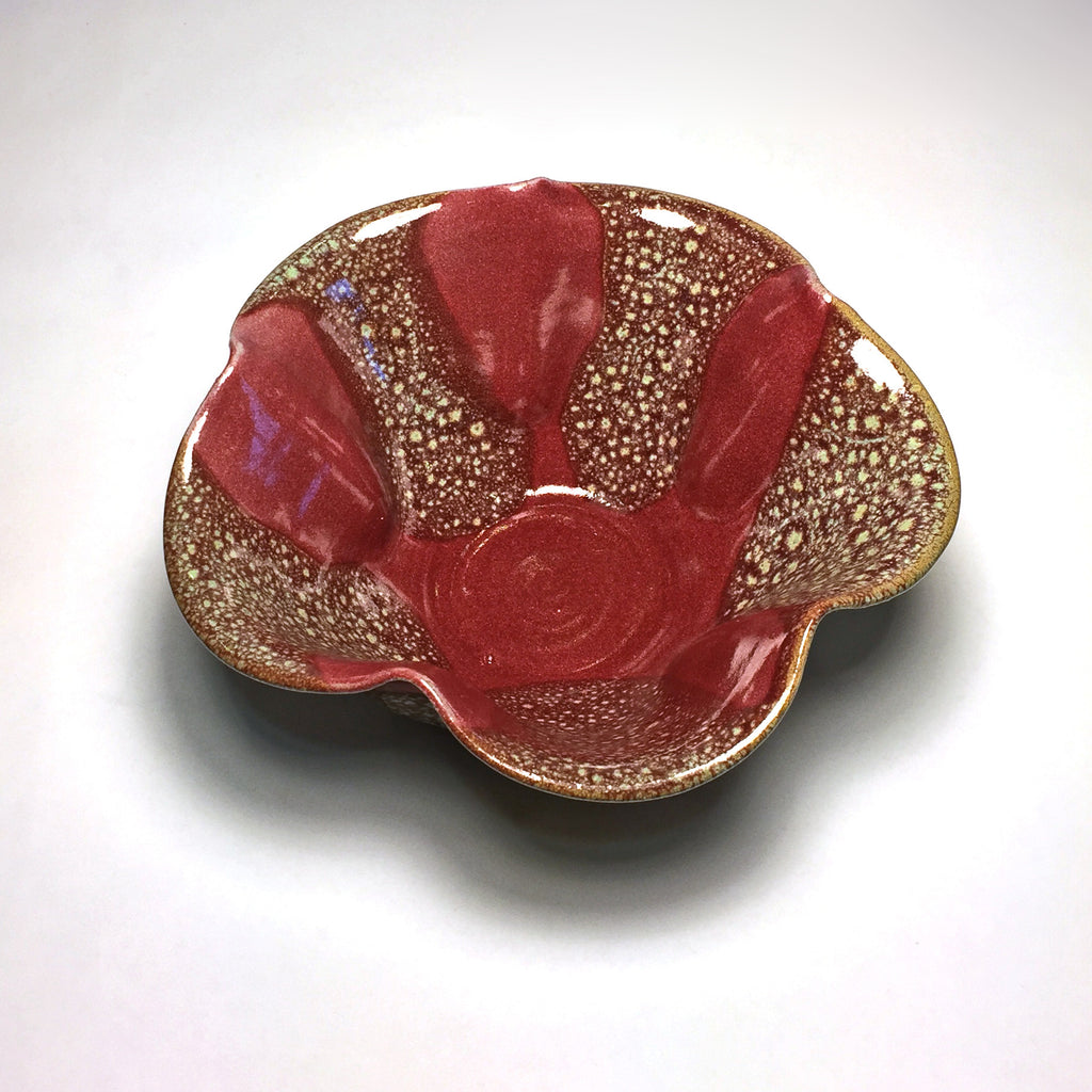 "Elegant & Unique Ceramic Cinquefoil Bowl ""Red Sea"""