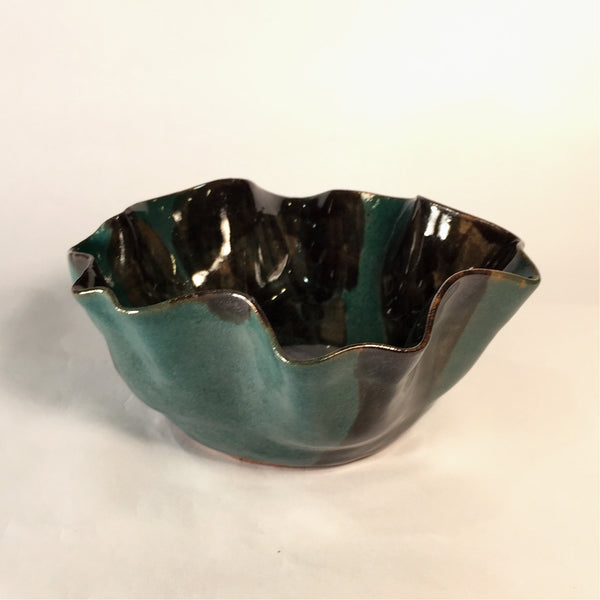 Emerald and Black Wave Bowl