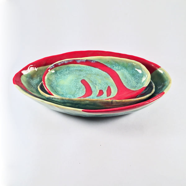 "Modern Handmade Dishes Set of 3 ""Turquoise and Red"" Includes Large Serving Bowl!"