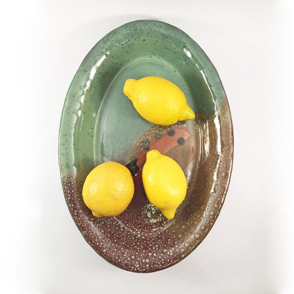 "Hand crafted ""Oil Spots"" Platter! Simply Beautiful Ceramic Serve ware!"