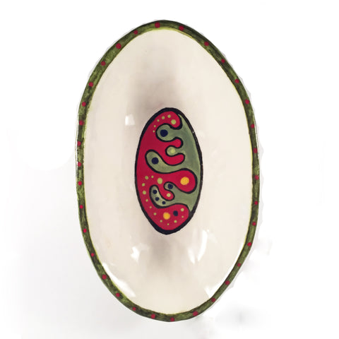 Handmade Large Oval Doodle Bowl-Ceramic Serving Dishes-Colorful and Original Designs!