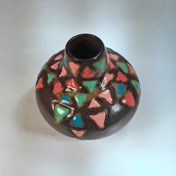 "Vase ""Jeweled Triangles""/Bud vase with pink, blue, green triangles."