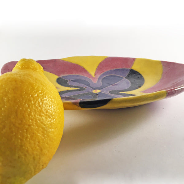 "Painted Dish ""Bloomin' Blues""/Pretty Abstract Floral for Bedside Dish!"