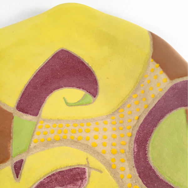 "ABSTRACT & MODERN HANDMADE CERAMIC DISH ""Lemon Drop"" For use & decor!"