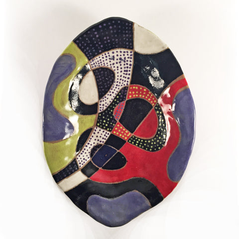 "Colorful Abstract Designer Ceramic Ware, Serving Dish ""Rolling Stones""! Eclectic Functional Pottery!"