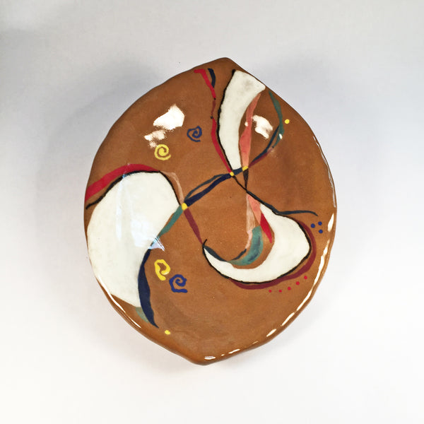 Handcrafted Hand Painted Lemon Shaped Dish in Warm, Rich, Colorful Design.