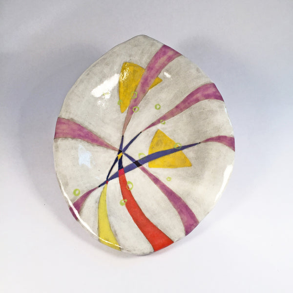 Handmade Hand Painted Multi-color Dish/Glazed Ceramic Pottery for Use.