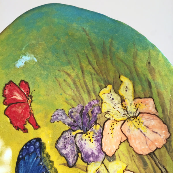 Hand painted butterflies and irises