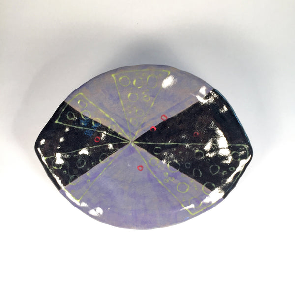 Purple & Black Handmade Hand Painted Ceramic Dish/Functional/Decorative