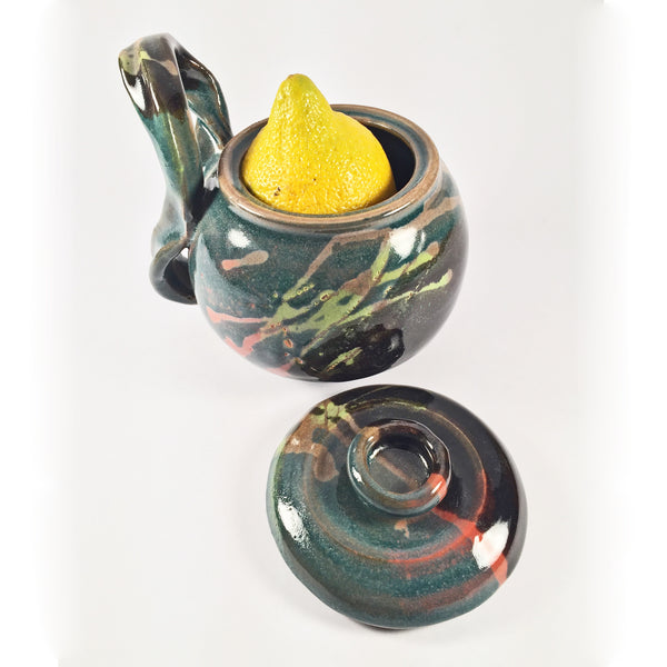 "Vibrant Ornamental Casserole ""Color Trails"" with Unusual Funky Handle!"