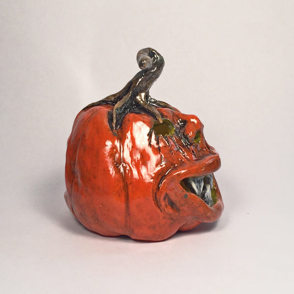 Awesome Holiday Pottery/Ceramic Jack o' lanterns/3-dimensional features!