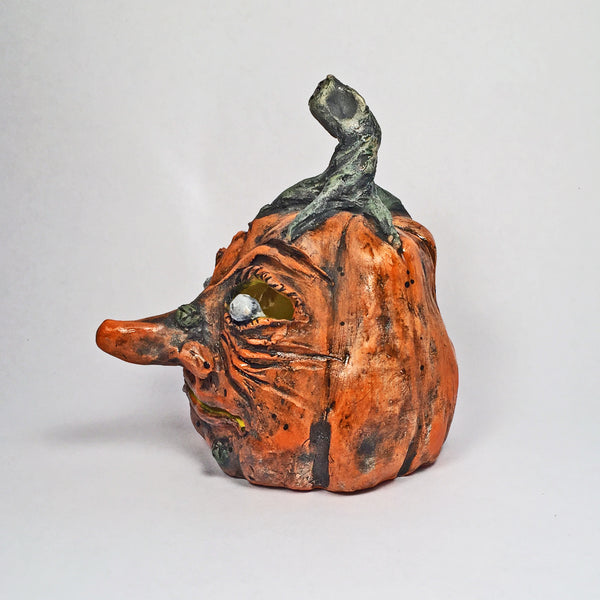 Ursula the Jack o' lantern is waiting for YOU! Carved Ceramic Pumpkin!