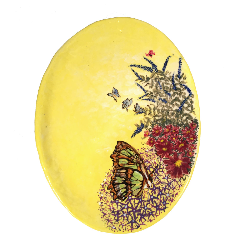 Exquisite Artisan Hand Painted Ceramic Plate with Malachite Butterfly!
