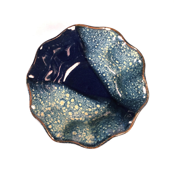 "Stunning Wave Bowl ""Blue Bubbles"" is a MUST SEE! Designer Gift Idea!"