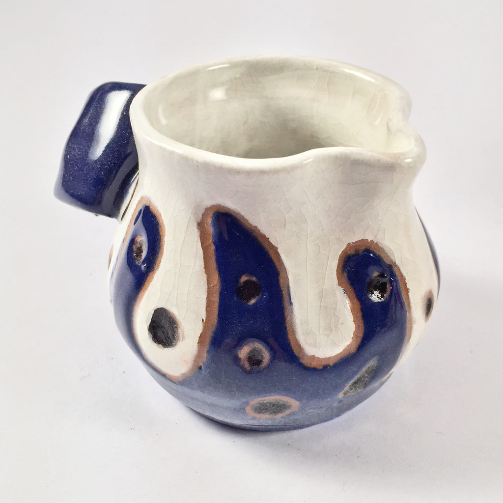 "Ceramic Mini Pitcher ""Blue and White"" Functional Fun Pottery! Colorful Accent for Kitchen!"