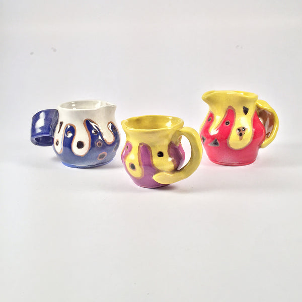 Ceramic Mini Pitcher Set of 3. Vibrant Fun Colors! Great for Serving Cream, Honey, Syrup, more!