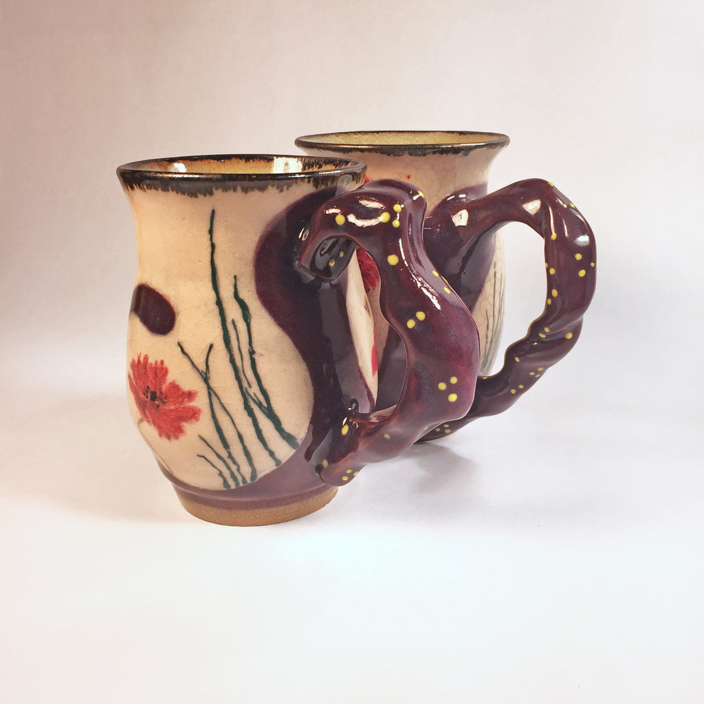 Hand-painted Pair of Beautiful, Individually Designed Matching Mugs!