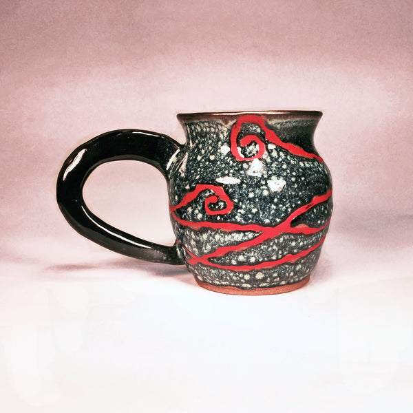 "Handmade Mug ""Red Doodle on Blue Bubbles""/Very Unique Design!"