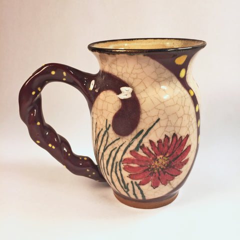 "Designer, Hand-painted Mug ""Red Zinnia Cream"" Destined to be favorite!"