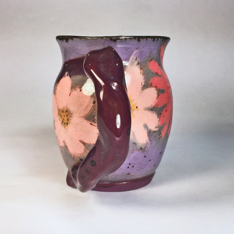 "Hand-painted Mug ""Pink Flowers""--delightful for the first morning cup!"
