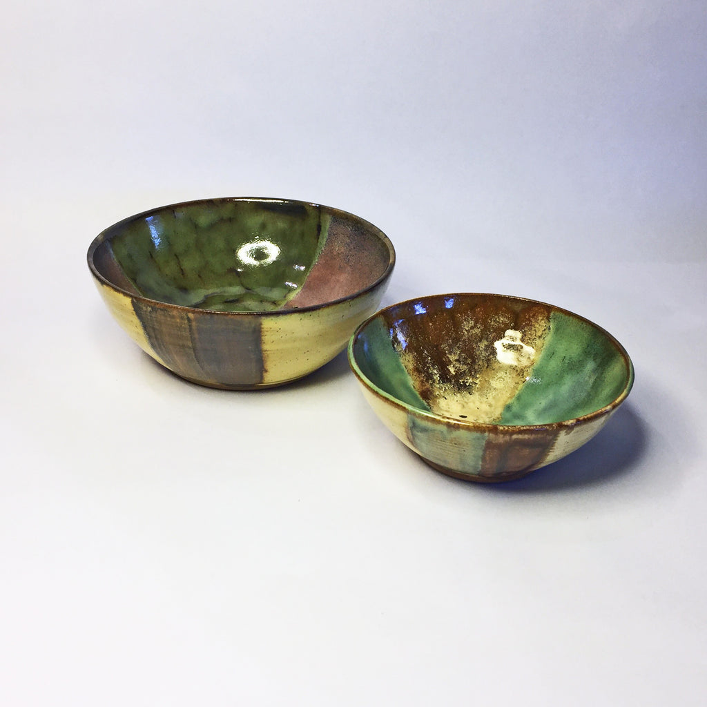 Set of 2 Beautiful Nesting Bowls Designer Glazed in Warm Earthy Colors