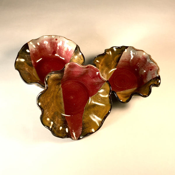 Set of 3 Designer Nesting Bowls with Beautifully Hand Ruffled Edges!
