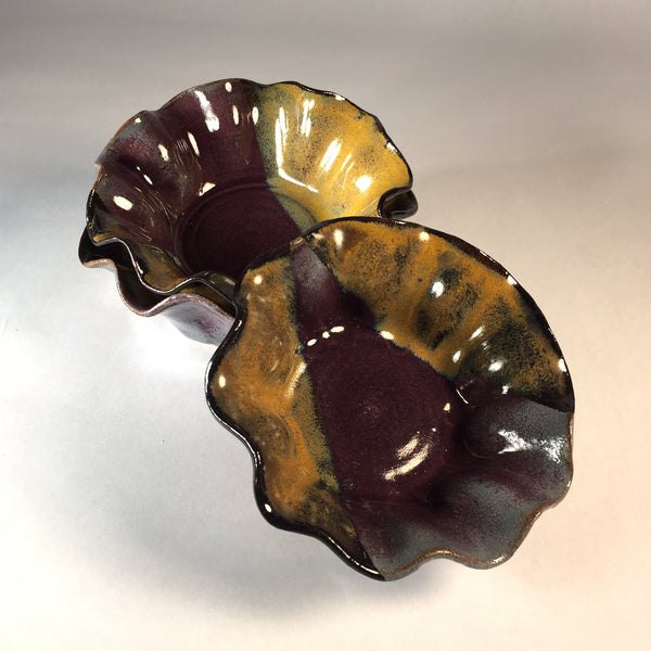 Stunning Set of Ruffle-edged Nesting Bowls in Deep Purple & Rich Gold.