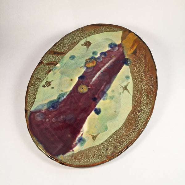 Handmade Ceramic Oval Dish. Unique Abstract Colorful Glaze Effects!