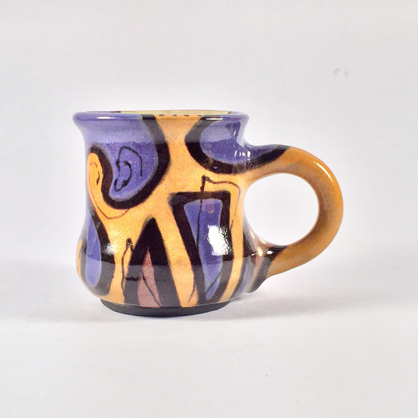 "Hand Painted Mug ""Puzzle"" Original and Unique in Purple/Gold/Black!"