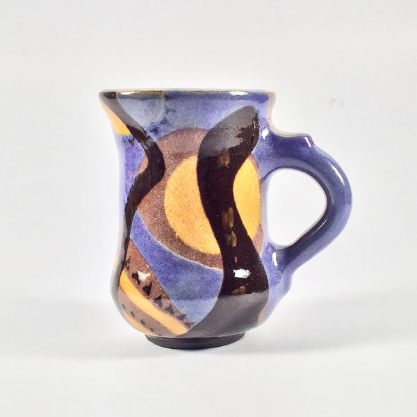 "Unique Ceramic Swirl Painted Mug ""Tall"". Delightful Purple/Gold/Black."