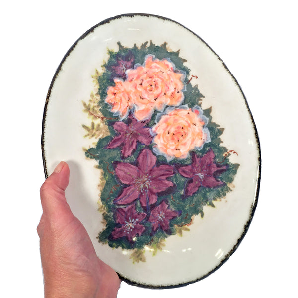 Flower Lover's Painted Plate with Hybrid Tea Peace Rose and Clematis!