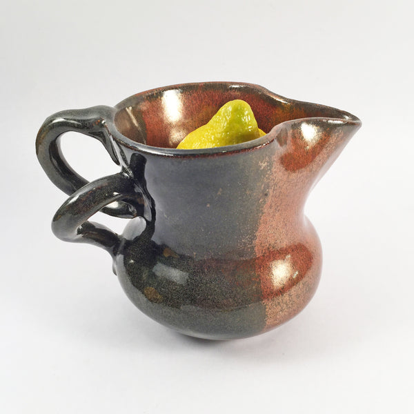 "Ceramic Pitcher ""Curl"" with Elegant Glaze Combination, Warm and Rich. Nice Accent for Any Decor!"