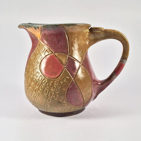 "Ceramic Pitcher ""Satin Doodles"" in Lovely Muted Tones. Beautiful and Functional Pottery!"