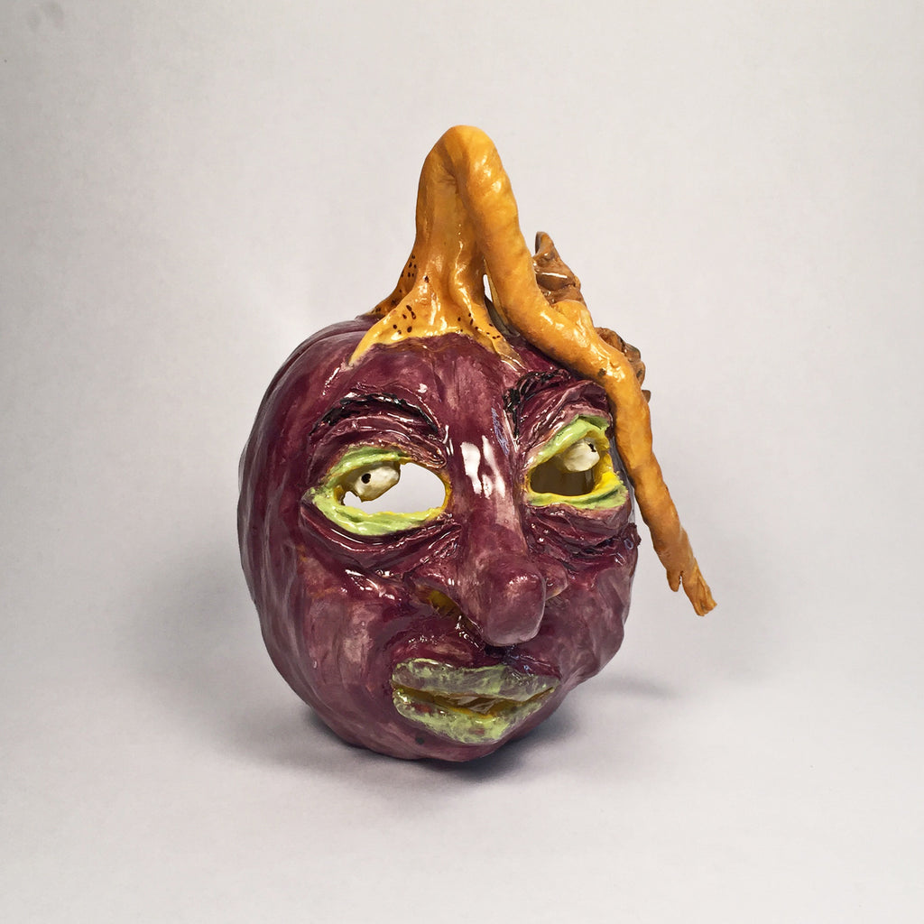 Unique Purple Jack o' lantern/handmade/carved clay/great 3D expression