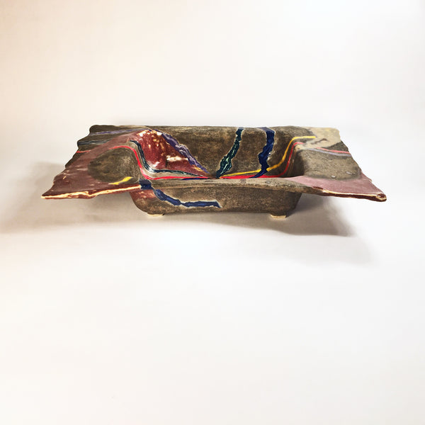 "Rectangular Tray ""Ribbon Twist""/Handmade Artisan Ceramic Decoration!"