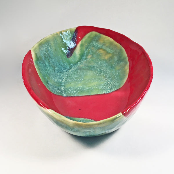 Elegant and Chic Large Serving Bowl-Bright Red Flair on Turquoise Bubbles! Unique, Handcrafted