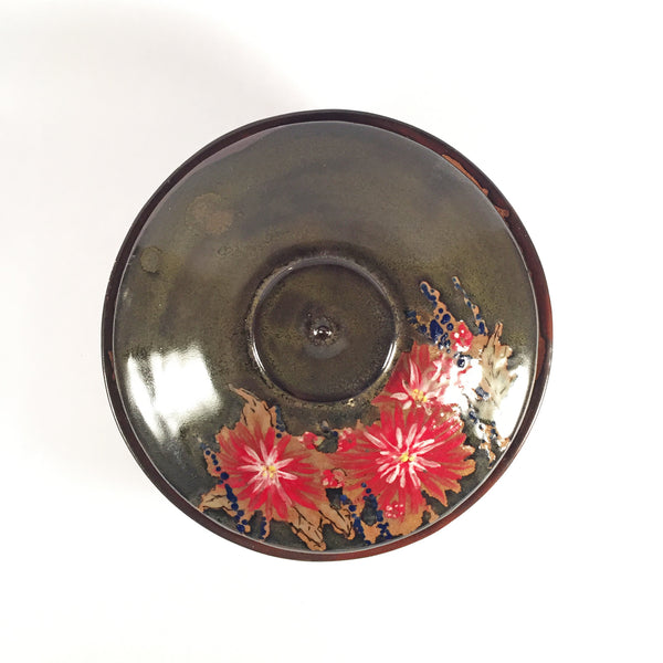 Red Dahlia Ceramic Casserole has Hand painted Flowers on Brown Glaze.
