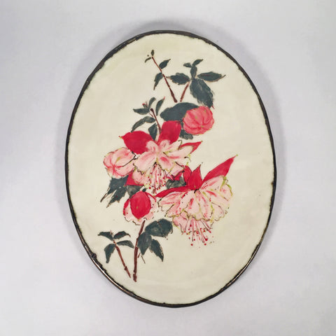 Delightful, Hand-Painted Red Fuchsia Ornamental Plate with Golden Rim!