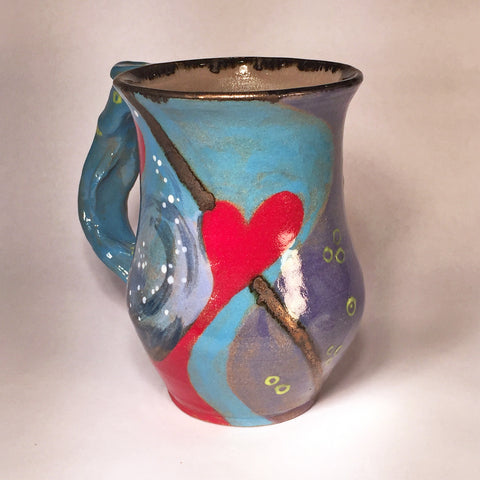 Red and Turquoise Hand-painted Mug (A)