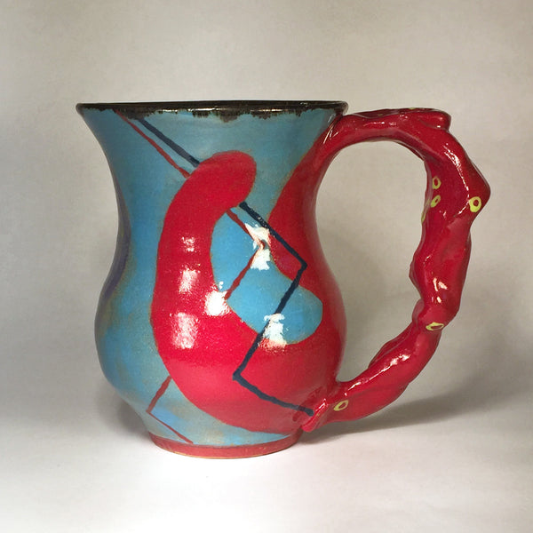 Red and Turquoise Hand-painted Mug (B)