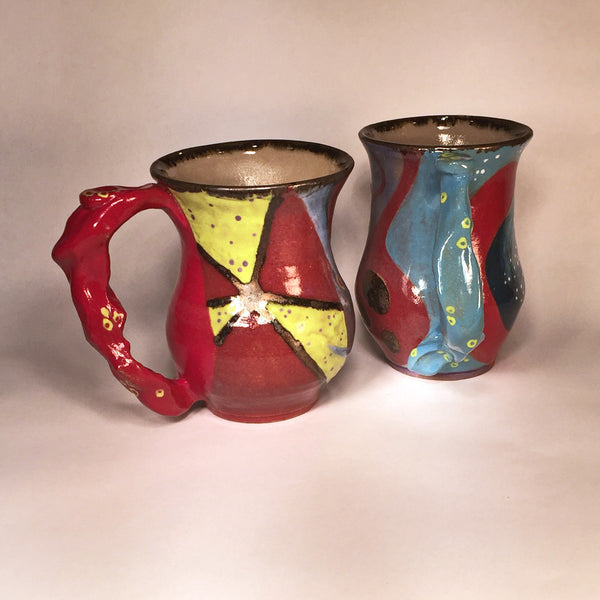 Red and Turquoise Hand-painted Mug Pair