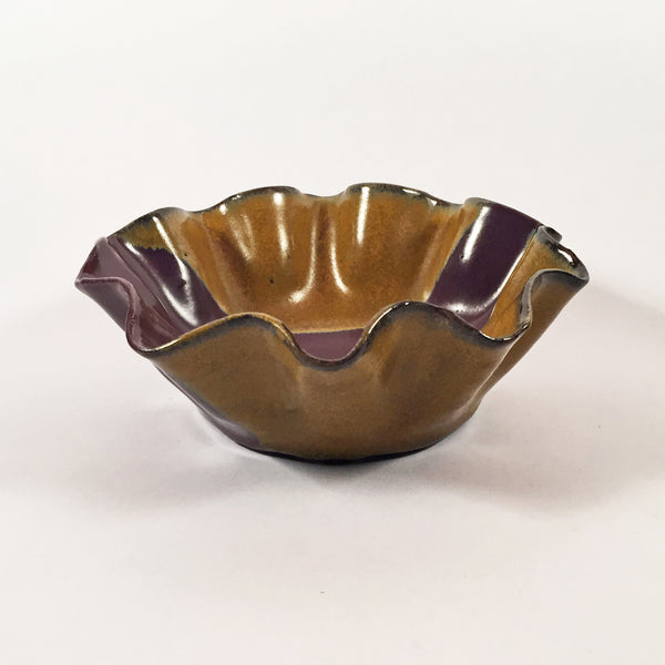 "Unique Altered Ceramic Bowl ""Ruffle Snack Bowl in Purple and Gold"". Functional Pottery!"