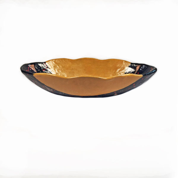 Scalloped Edged, Oval Serving Dish has Intricate Hand-Painted Design!