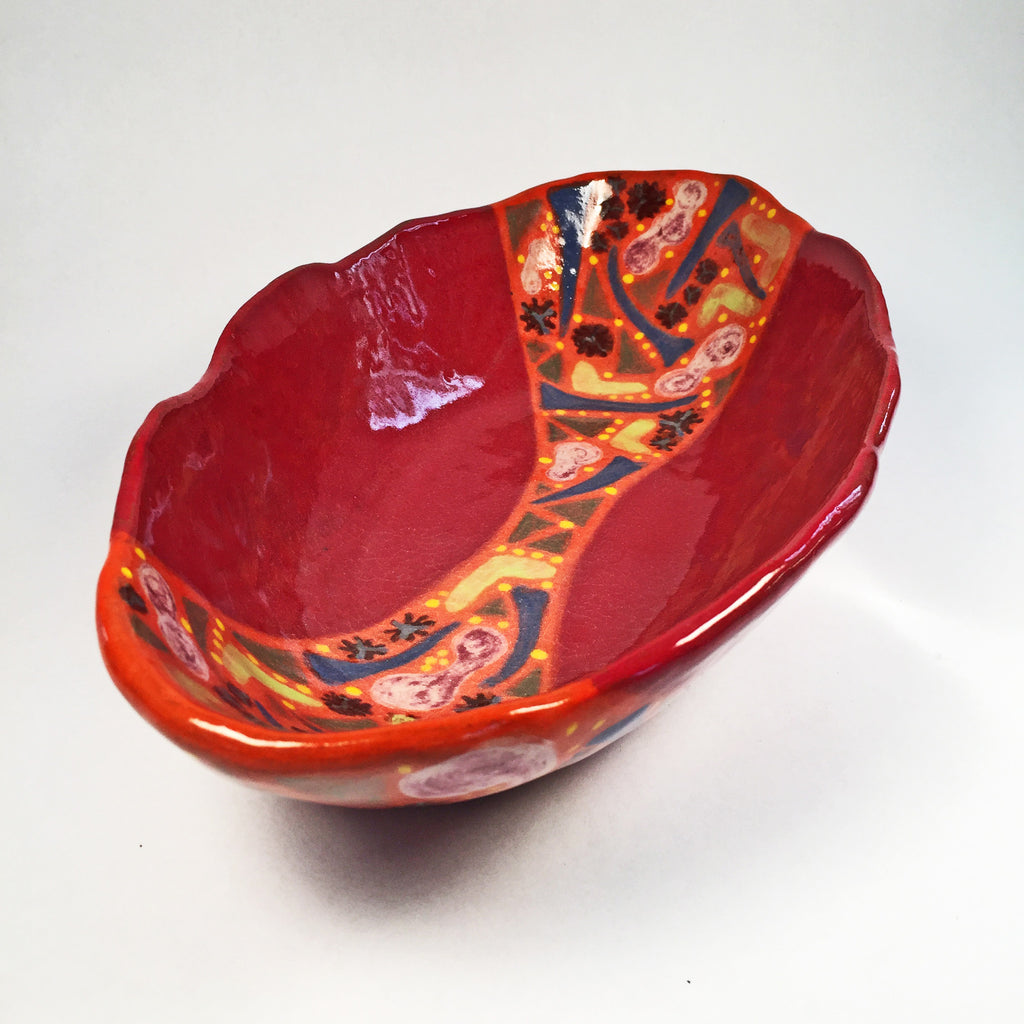 Colorful Handcrafted Scallop Oval Serving Bowl-functional & beautiful!