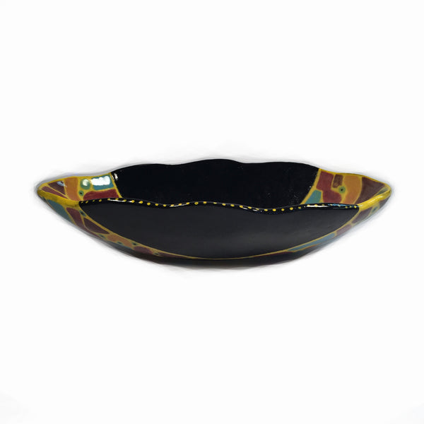 Exciting & Colorful Scalloped Oval Bowl/Artistically Designed & Painted!